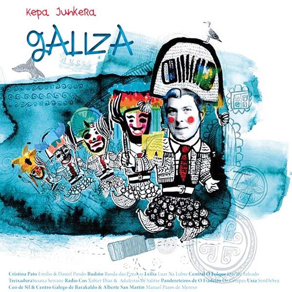 Portada deste libro-disco, ilustrada con máscaras do Entroido ourensán.