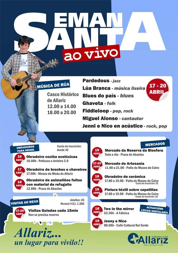 Cartaz das actividades da Semana Santa en Allariz.