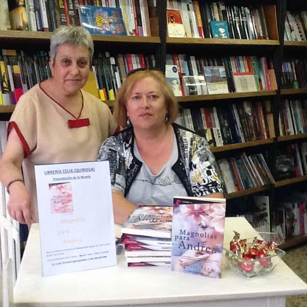 """Celia Marcos e Mencía Yano, na presentación de """"Magnolias para Andrea"""" en Quiroga."""