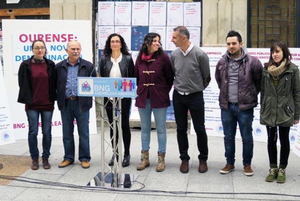 Nesta presentación a cabeza de lista estivo acompañada por membros da candidatura do BNG-Asembleas Abertas en Ourense.