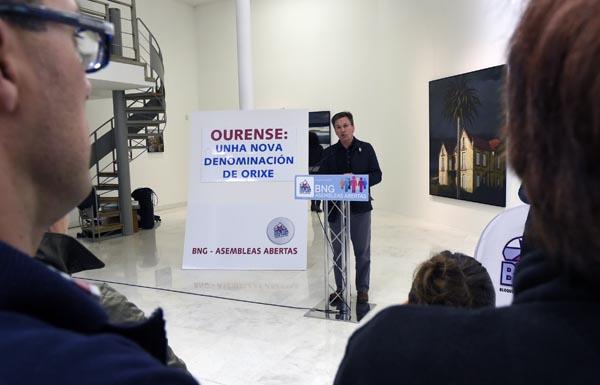 Xavier Vence, nun dos momentos da presentación da lista do BNG en Ourense./ Foto: Carlos G. Hervella.
