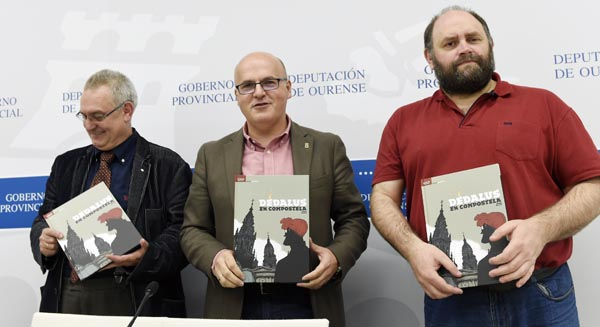 O vicepresidente da Fundación Vicente Risco, o presidente da Deputación e o ilustrador Fernando Iglesias na presentación do libro en Ourense./ Foto: Carlos G. Hervella.