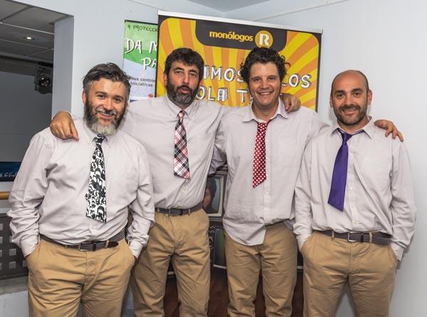 """Os intérpretes de """"Viramos tolos pola tele"""", no Teatro Lauro Olmo do Barco./ Foto: Sindo Novoa."""