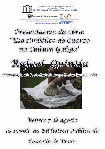 Cartaz do acto de presentación deste ensaio sobre o seixo en Verín.