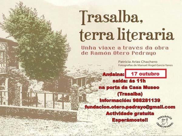 Cartaz da ruta literaria por Trasalba.