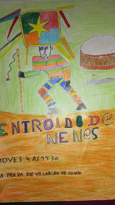 Cartaz ganador do certame do Entroido infantil de Vilariño.