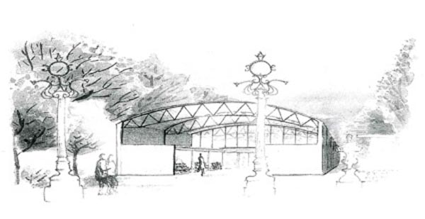 Boceto da estrutura provisional, que estará ubicada no paseo central da Alameda.