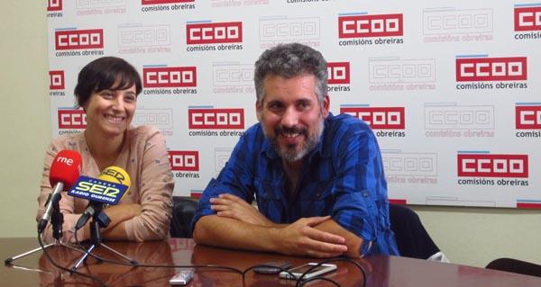Paula Carreiro, de UGT, e Borja Campo, de CC OO. // Foto: S.F.