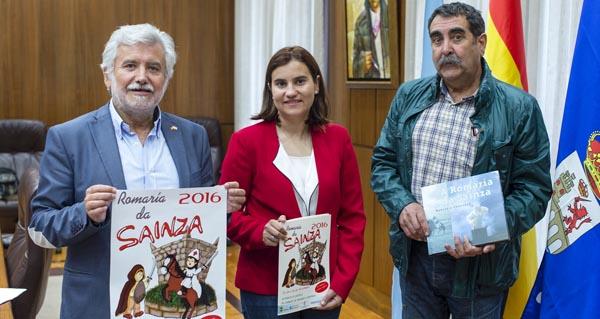 Rosendo Fernández, Asunción Morgade e José Antonio Cao na presentación da Romaría da Saínza.