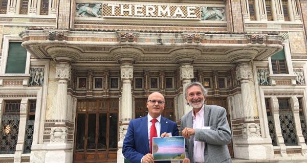 Manuel Baltar en Italia, con Giuseppe Belandi, presidente da Asociación de Cidades Termais Históricas.