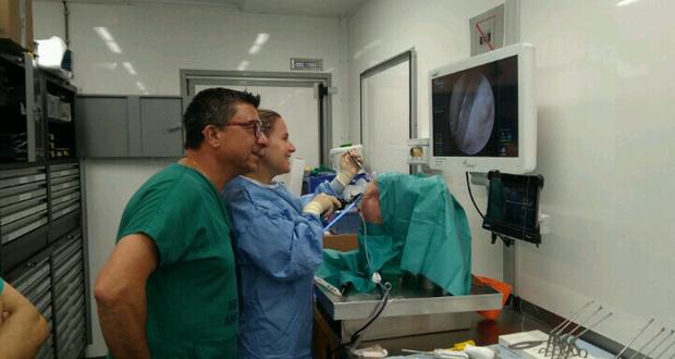 Photo of O CHUO trae un laboratorio móbil para formar aos traumatólogos en técnicas de artroscopia