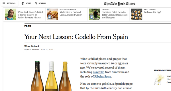 Photo of O New York Times pon a súa mirada no godello