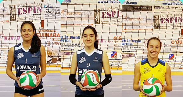 Photo of Carolina, Sofía e Lucía, na 4ª concentración de seleccións autonómicas de voleibol