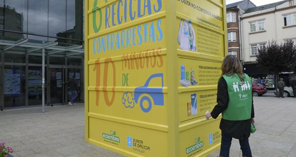 Photo of Un contedor amarelo xigante informa no Barco sobre a campaña de reciclaxe dos envases de plástico