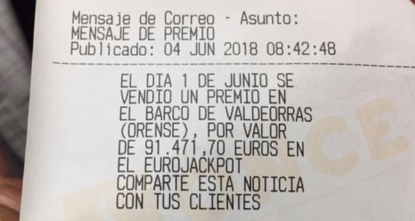 Photo of O sorteo do Eurojackpot deixa 91.471,70 euros no Barco