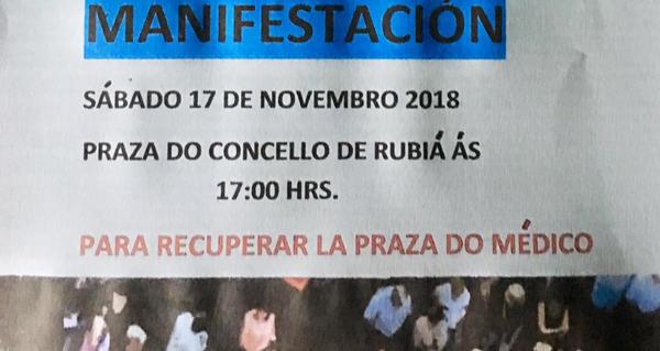 Photo of Rubiá sairá á rúa o 17 de novembro en defensa da segunda praza de médico do Centro de Saúde