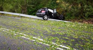 Un accidente de tráfico no Bolo, entre as incidencias da tormenta en Valdeorras