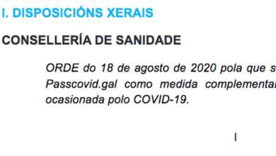 """Photo of A orde que regula a aplicación """"Passcovid"""", publicada no DOG"""