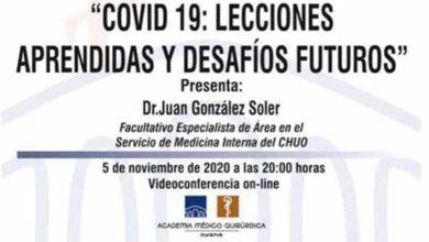 Photo of Sesión virtual sobre Covid-19 dende a Academia Médico Cirúrxica de Ourense