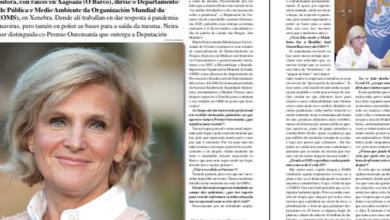 Photo of María Neira, directora de Saúde Pública da OMS, na edición de novembro de O SIL