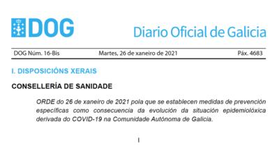 Photo of O DOG publica as novas medidas fronte ao Covid que estarán en vigor ata o 17 de febreiro