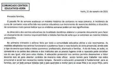 """Photo of Os centros educativos de Verín piden ás familias """"extremar o máximo as precaucións"""" ante a situación sanitaria"""